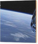 Asteroid Approaching Earth, Artwork Wood Print by Detlev Van Ravenswaay