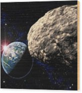 Asteroid Approaching Earth Wood Print by Roger Harris