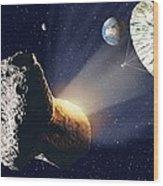 Asteroid Deflection Wood Print