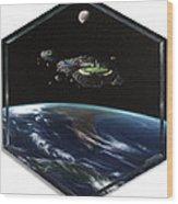 Asteroid Golf Wood Print