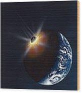 Asteroid Impacting The Earth, Artwork Wood Print by Richard Bizley