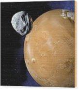 Asteroid Near Mars, Artwork Wood Print by Detlev Van Ravenswaay