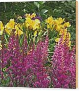 Astilbe And Lilies Wood Print