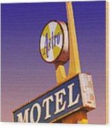 Astro Motel Retro Sign Wood Print