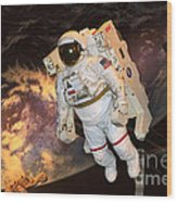 Astronaut In A Space Suit Wood Print
