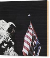 Astronaut Stands Next To The American Wood Print