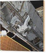 Astronaut Traverses Wood Print