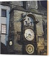 Astronomical Clock At Night Wood Print