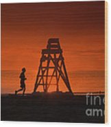 At The Beach In The Morning Wood Print