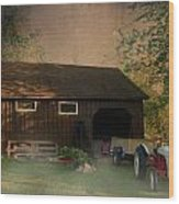 At The Farm Wood Print