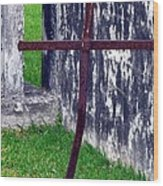 At The Old Rusty Cross Wood Print