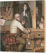 At The Pawnbroker Wood Print by Thomas Reynolds Lamont