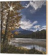 Athabasca River With Mount Fryatt Wood Print