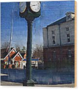 Athens Alabama City Clock Wood Print