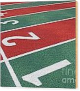 Athletic Track Markings With Numbers Wood Print