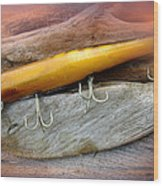 Atom A40 Vintage Saltwater Lure - Whiting Gold Wood Print