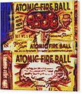 Atomic Fire Ball Wood Print
