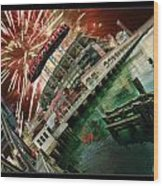 Att Park And Fire Works Wood Print