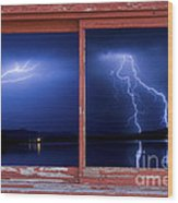 August Storm Red Barn Picture Window Frame Photo Art View Wood Print