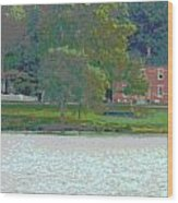 Augusta River Front Row Houses Wood Print