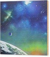 Auroa Borealis From Space Wood Print