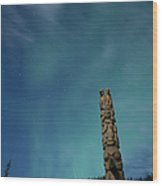 Aurora Above Totem Pole Wood Print