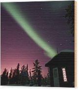 Aurora Borealis Above Cabin, Northwest Wood Print