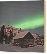 Aurora Borealis Over A Cabin, Northwest Wood Print