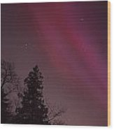 Aurora Borealis Over Jordan Pond Wood Print