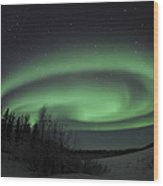 Aurora Borealis Over Vee Lake Wood Print
