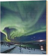 Aurora Over The Road Wood Print by Frank Olsen