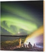 Aurora Watching, Time-exposure Image Wood Print