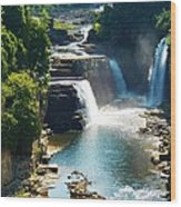 Ausable River Water Falls Wood Print