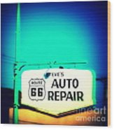 Auto Repair Sign On Route 66 Wood Print