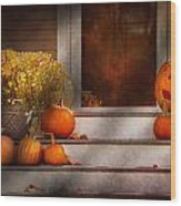 Autumn - Halloween - We're All Happy To See You Wood Print by Mike Savad