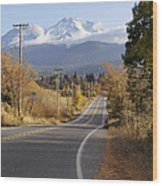 Autumn And Mt Shasta Down The Road Wood Print