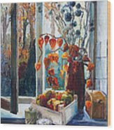 Autumn At The Kitchen Window Wood Print