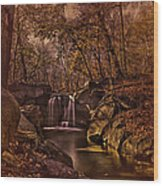 Autumn At The Waterfall In The Ravine In Central Park Wood Print