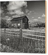 Autumn Barn Black And White Wood Print