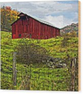 Autumn Barn Painted Wood Print