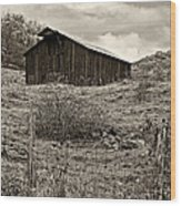 Autumn Barn Sepia Wood Print