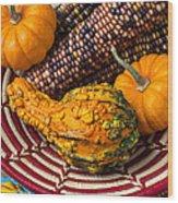 Autumn Basket  Wood Print by Garry Gay