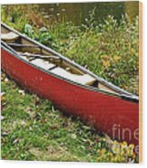 Autumn Canoe Wood Print by Thomas R Fletcher