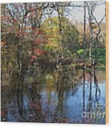 Autumn Colors On The Pond  Wood Print