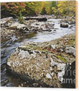 Autumn Cranberry River Wood Print