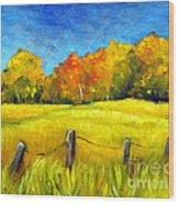 Autumn Farm Field Wood Print