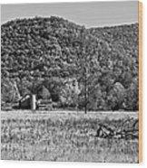 Autumn Farm Monochrome Wood Print