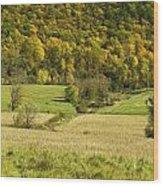 Autumn Farm Vista Wood Print