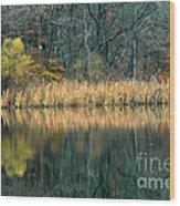 Autumn Fisherman Reflections Wood Print