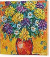 Autumn Flowers Gorgeous Mums - Original Oil Painting Wood Print